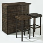 3-Piece Outdoor Wicker Bar Set