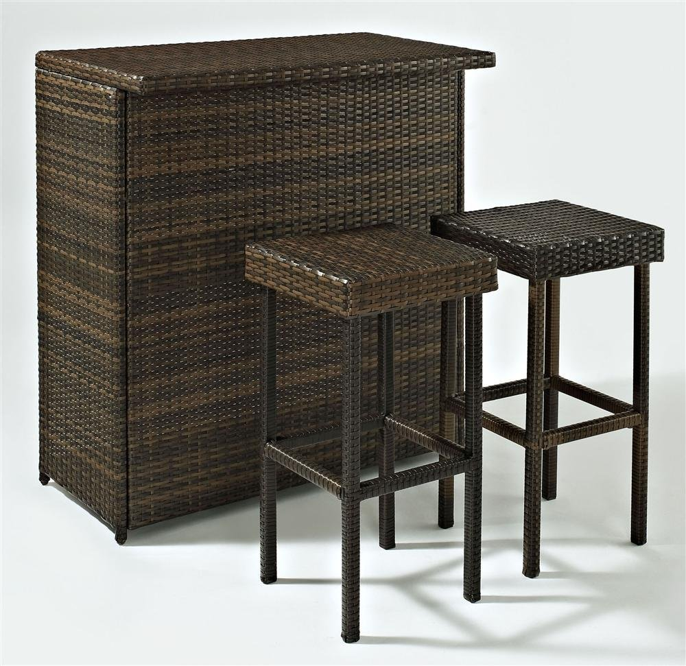 wicker patio bar and stools - Crosley Furniture Palm Harbor 3-Piece Outdoor Wicker Bar Set
