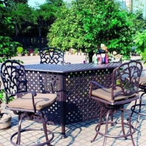 cast aluminium outside bar with four stools