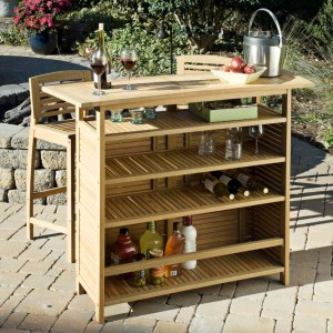 Home Styles Bali Hai Outdoor Bar Cabinet, Natural Teak Finish