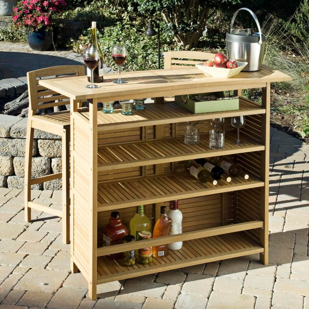 Home Styles Bali Hai Outdoor Bar Cabinet Natural Teak Finish