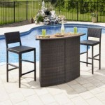 Home Styles Riviera Outdoor Woven Bar and Two Stools