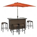 "Living Accents ""Corona"" 6 Piece Wicker Bar Set - 1 Outdoor_Patio Bar Table, 4 Bar Stools & Umbrella"