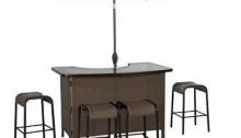 "Living Accents ""Corona"" 6 Piece Wicker Bar Set - 1 Outdoor_Patio Bar Table, 4 Bar Stools & Umbrella"