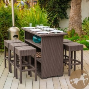 Outdoor Patio Seven Piece Brown Wicker Bar Set