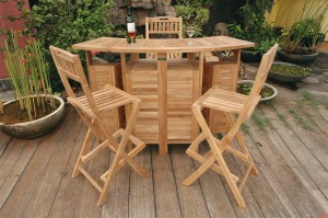 grade-A teak wood patio bar and 4 stool set