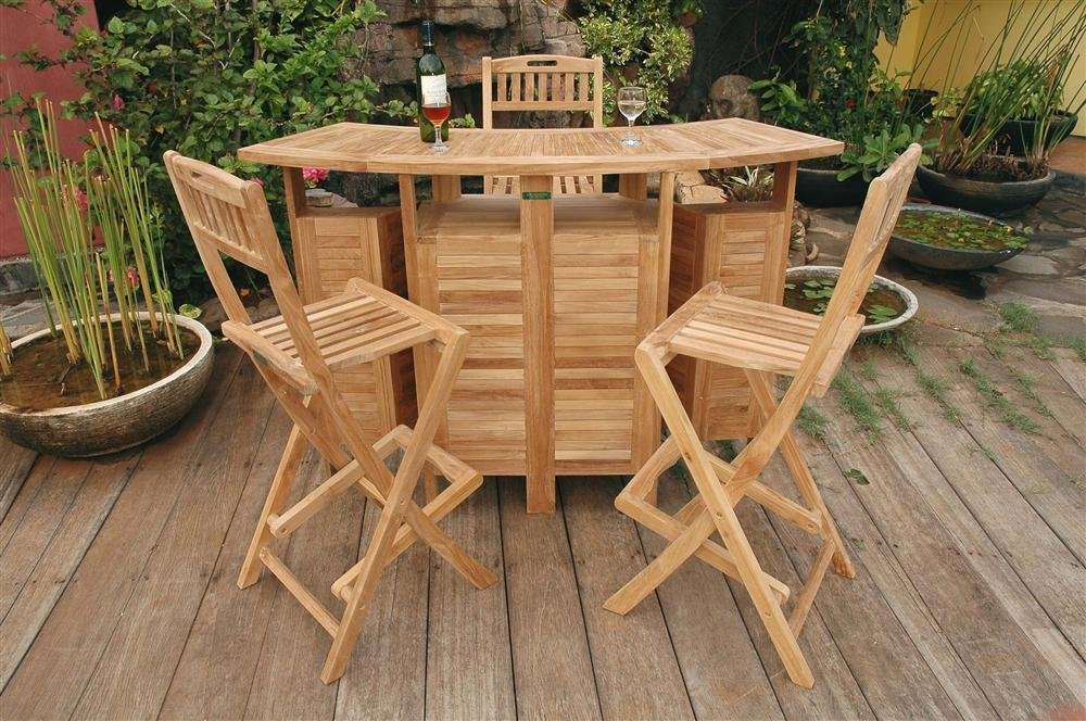 Grade A Teak Wood Patio Bar And 4 Stool Set