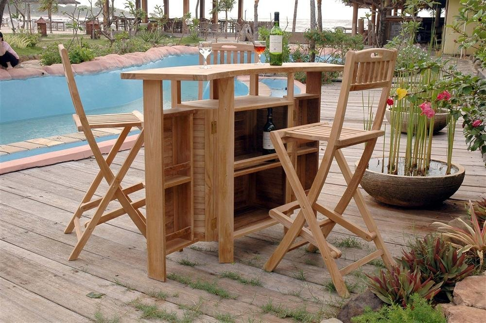 teak folding outdoor bar set