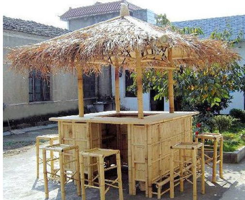 bamboo-island-tiki-bar-hut - Tiki Hut Structures And Furniture Pieces For Homes - Outdoor Bar
