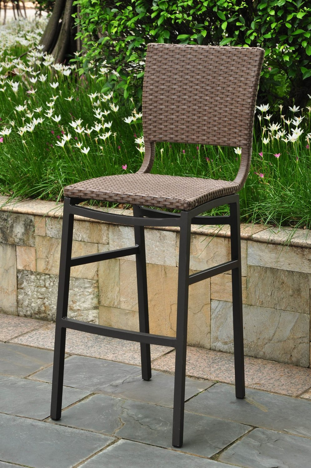 Barcelona Resin Wicker Outdoor Bar Height Chairs Stools
