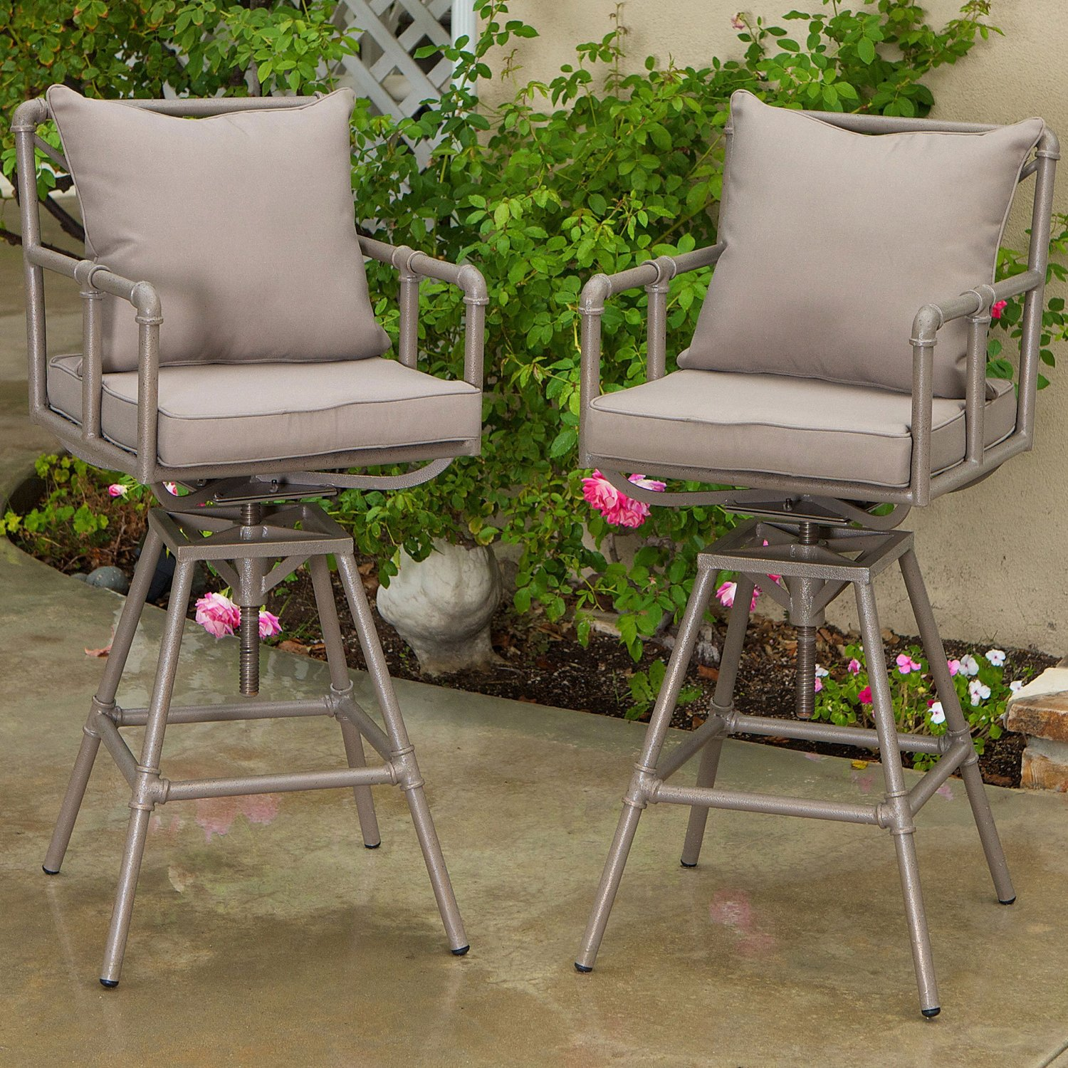 Tallahassee Pipe Outdoor Adjustable Bar Stools By Great Deal Furniture ·  Tallahassee_pipe_outdoor_bar_stools