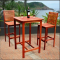 Dartmoor Wood 3-Piece Outdoor Bar Set with Bar Table and 2 Bar Chairs