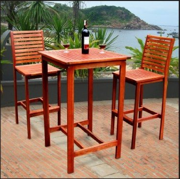 Dartmoor Outdoor 3-Piece Wood Bar Set with Bar Table and 2 Bar Chairs